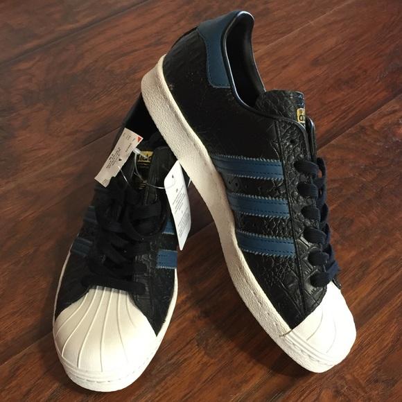 brand new b408e 3af7f Adidas Superstar Shoes Croc Black Blue Leather 9